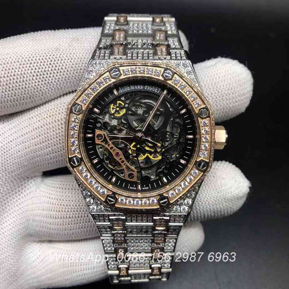 A180BL195, AP skeleton rose gold 2tone diamonds case automatic watch