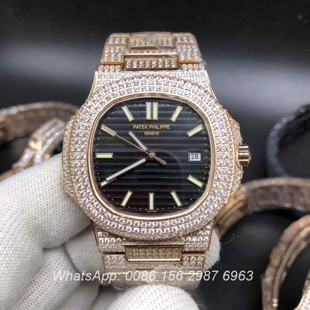 P120M200, Patek shiny diamonds rose gold case with different colors dial