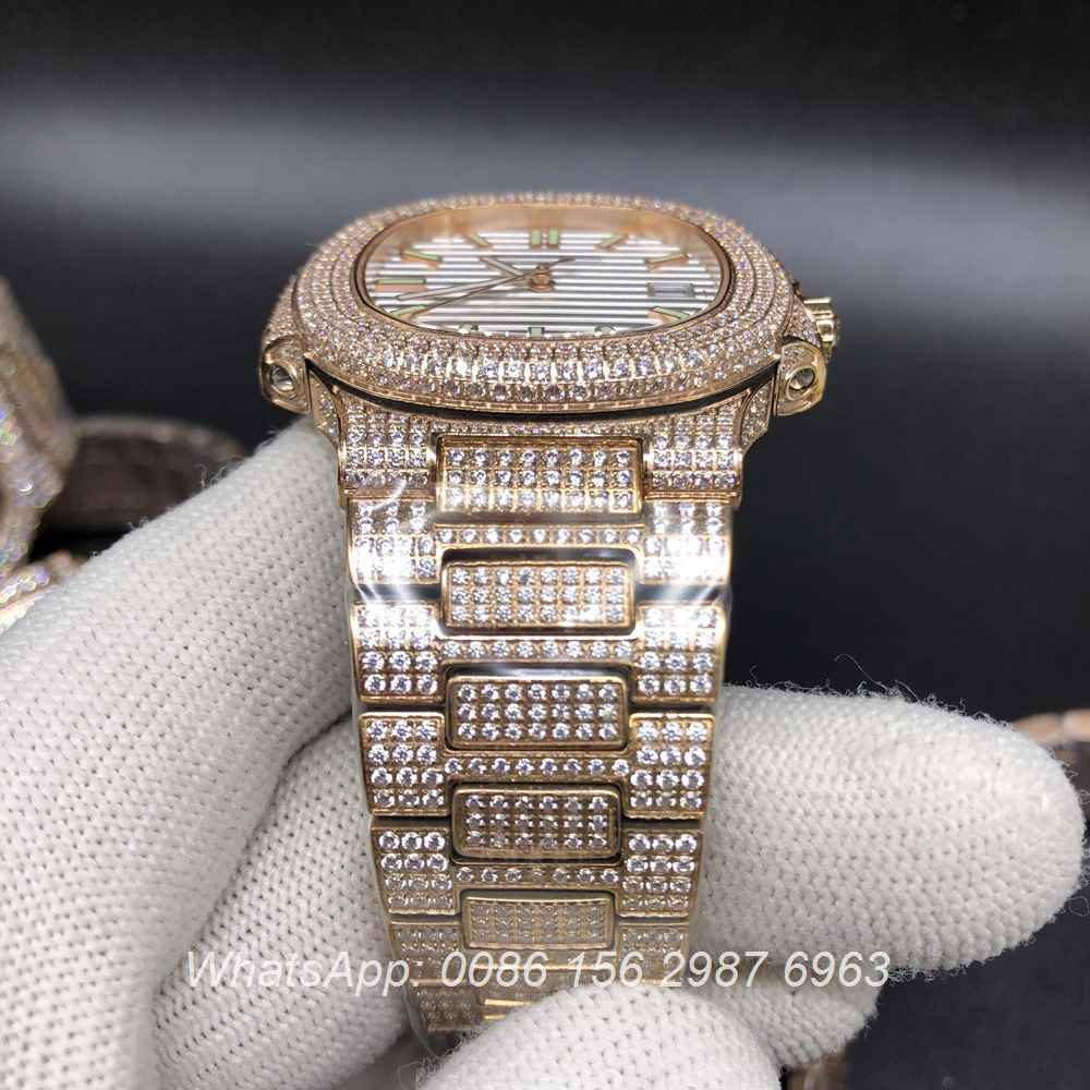 P120M200, Patek shiny diamonds rose gold case with different colors dial
