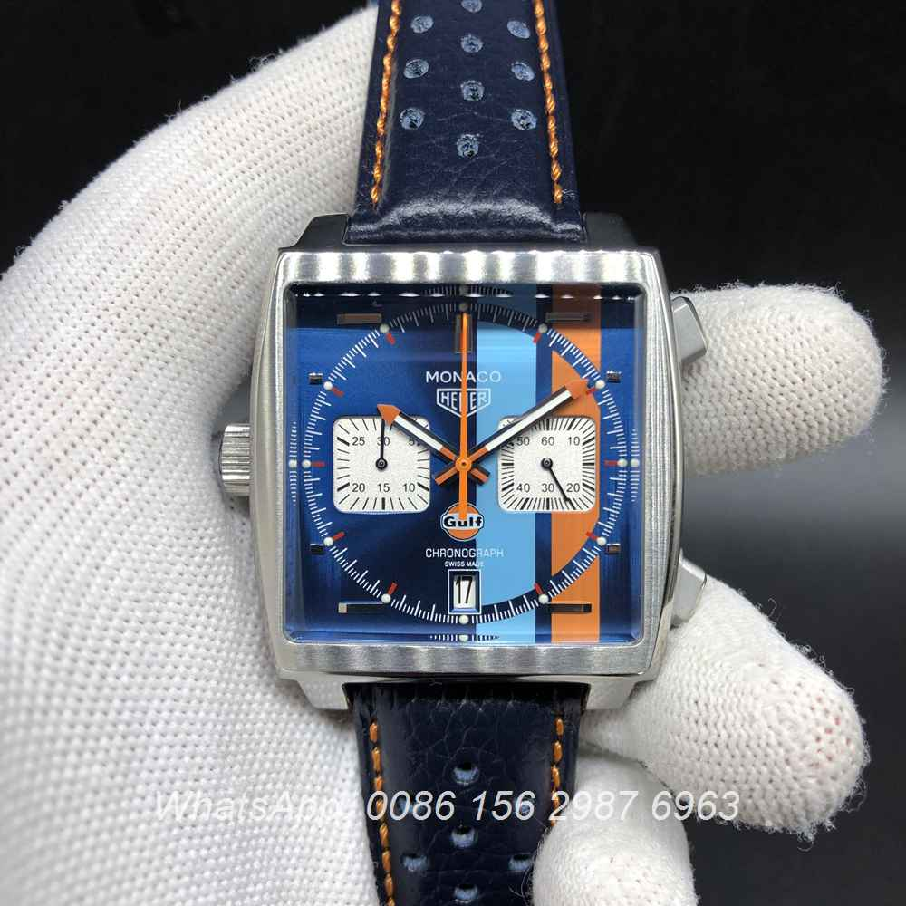 T028M216, TAG Monaco quartz blue face with blue leather