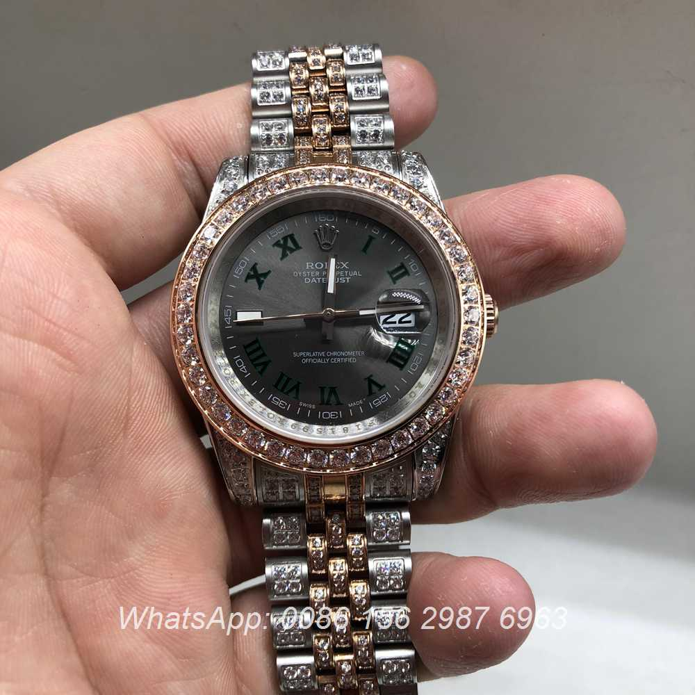R105M218, Datejust iced rose gold bi-color gray dial 40mm automatic watch