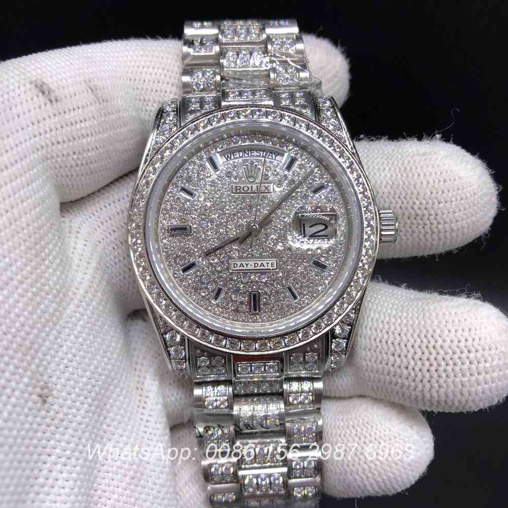 R092M219, DayDate iced silver diamonds face automatic shiny watch