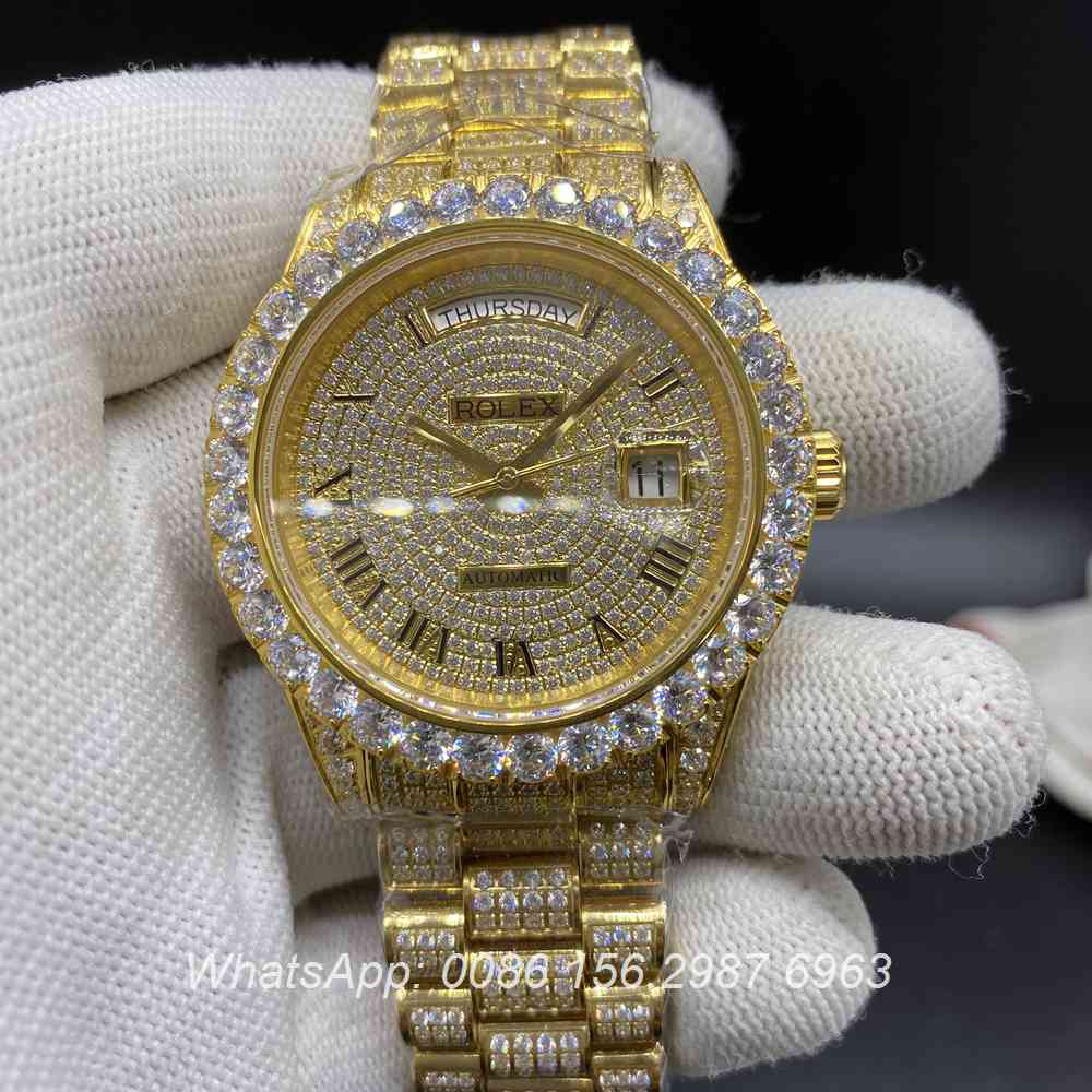 R230WS213, DayDate diamonds gold 2836 movement high grade iced watch