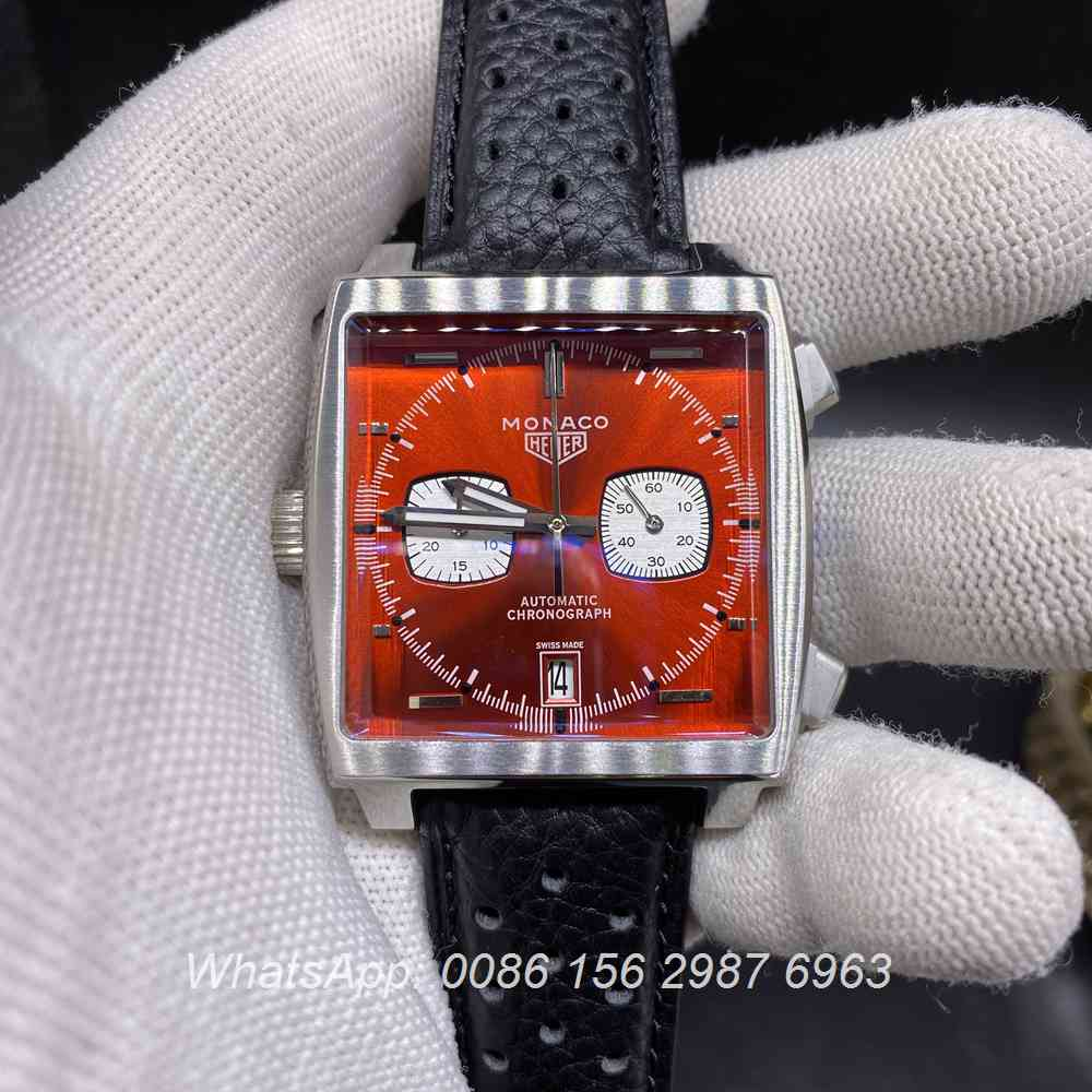T028M217, Monaco heuer quartz new model red face with black leather