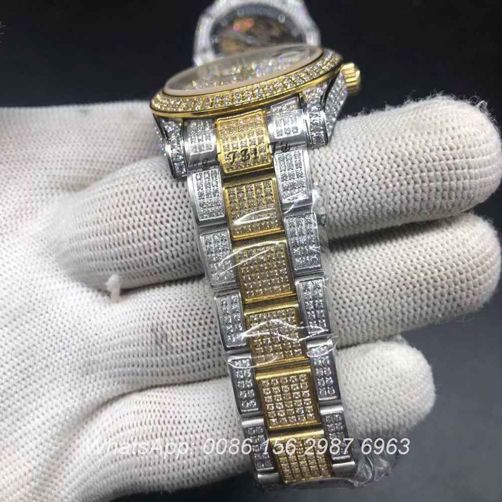 R105MH221, Datejust iced 2tone yellow gold shiny diamonds oyster strap