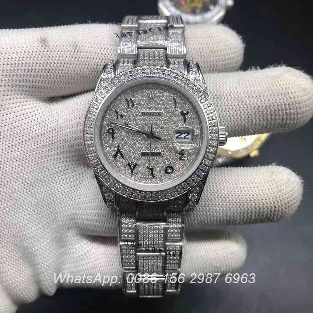 R102MH222, Datejust arabic iced silver automatic 37mm oyster strap shiny diamonds watch