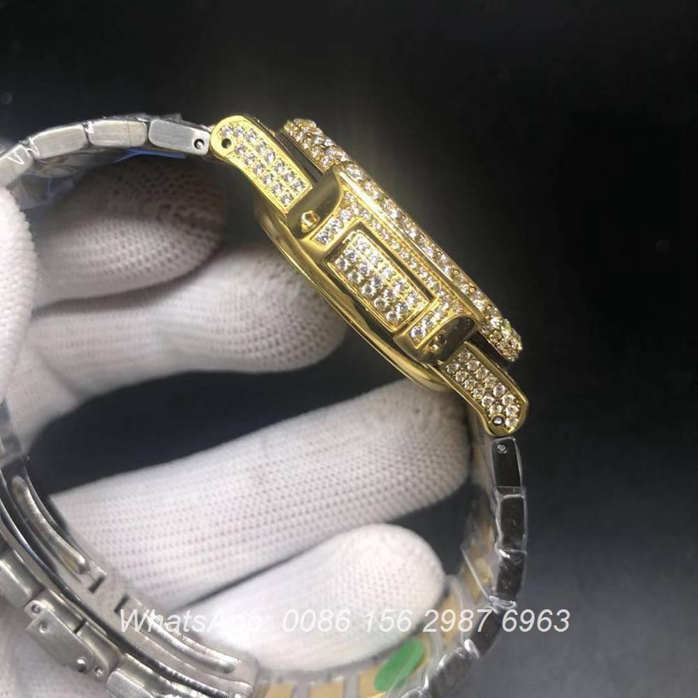 P240BL223, Patek iced bi-color yellow gold and silver big diamonds bezel