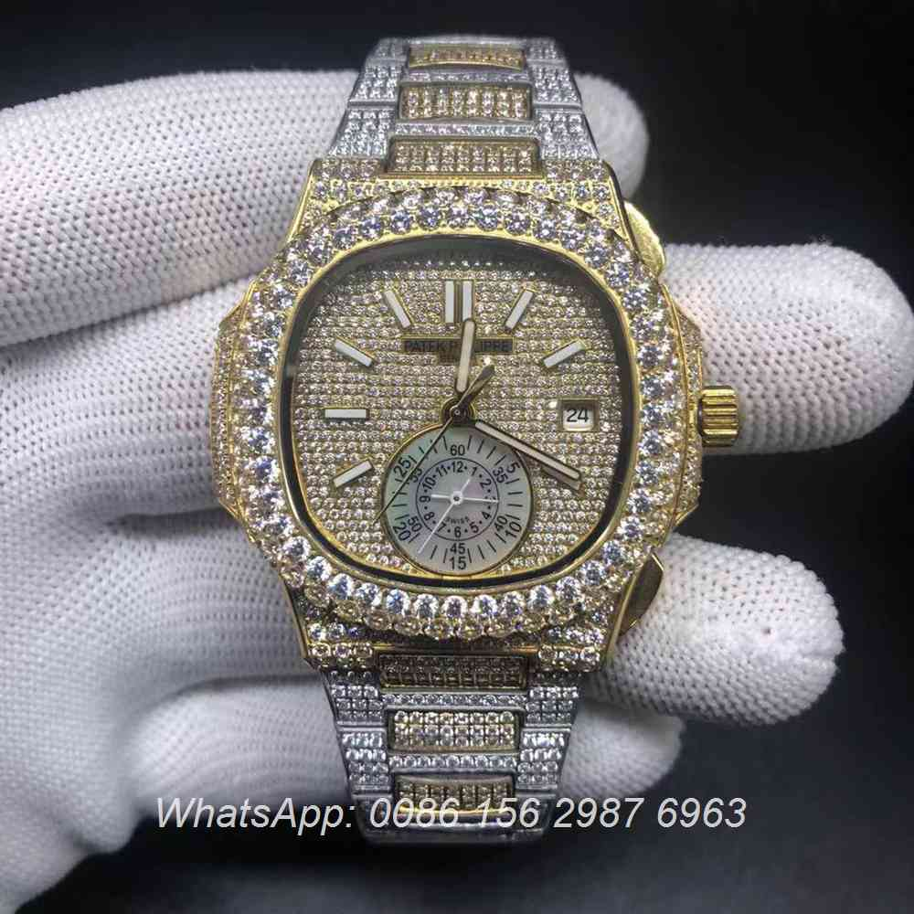 P240BL223, Patek iced bi-color yellow gold and silver big diamonds bezel