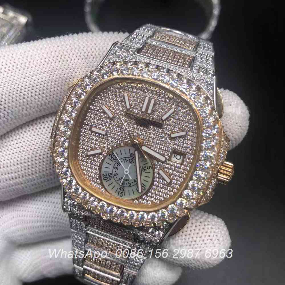 P240BL224, Patek rose gold 2tone diamonds shiny watch automatic