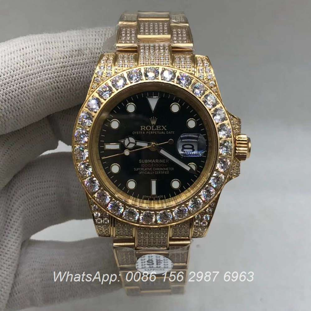 R120M233, SUB iced gold automatic 2813 AAA shiny diamonds watch