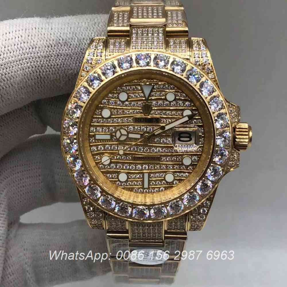 R120M236, SUB iced gold case AAA grade automatic full diamonds watch