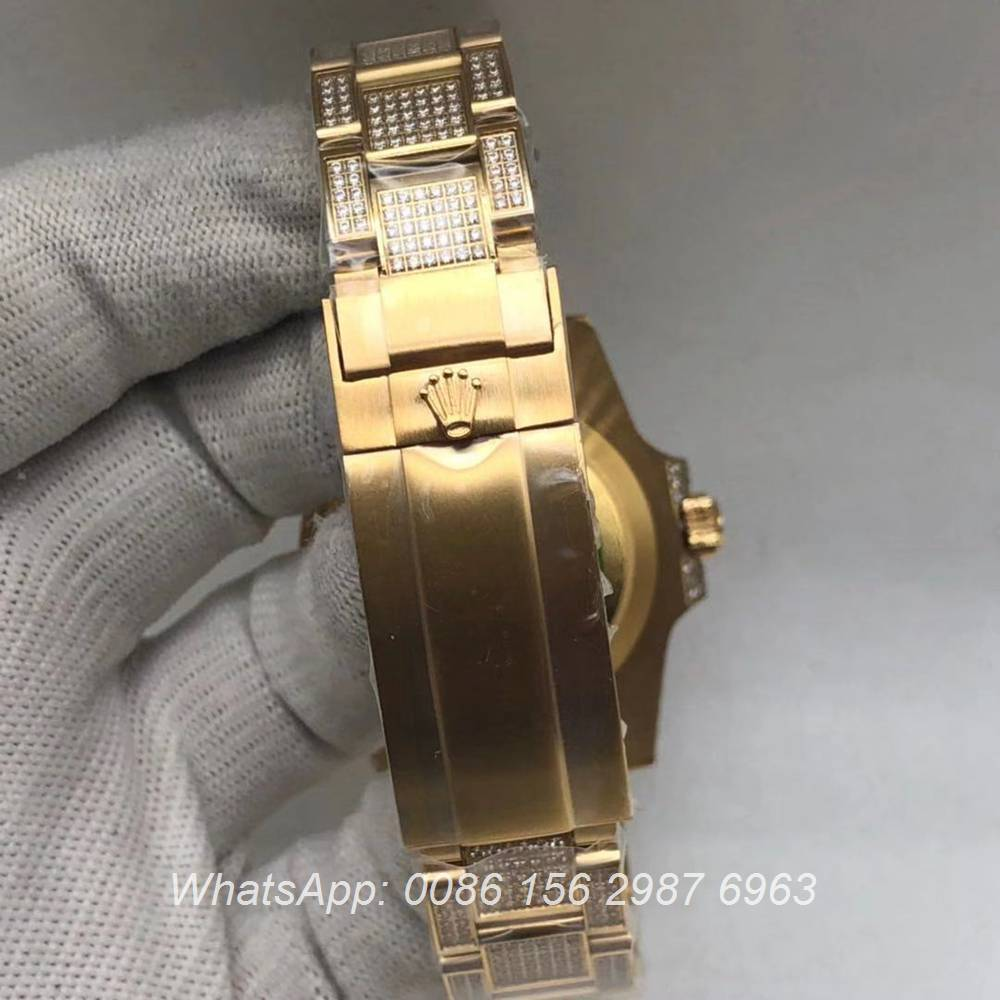R120M237, SUB iced gold 2813 movement AAA quality diamonds watch