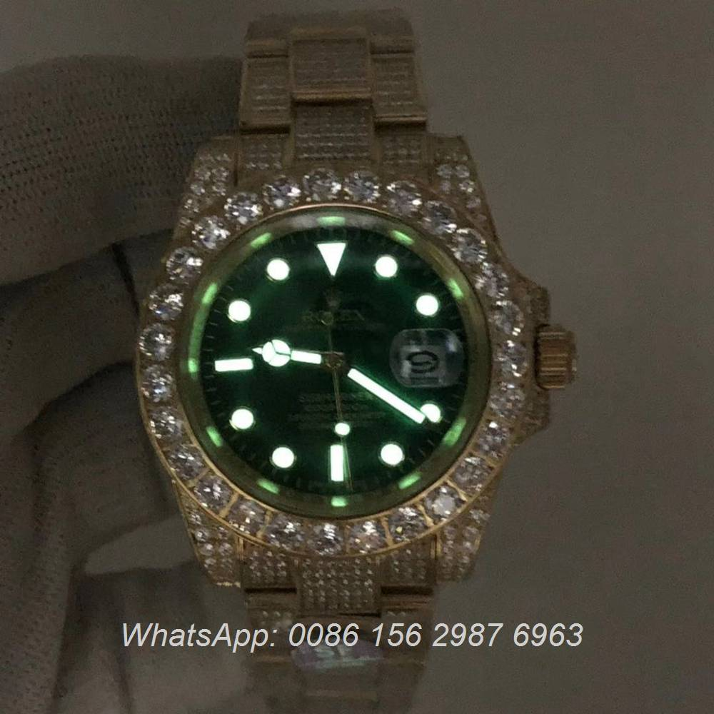 R120M238, SUB diamonds gold case with green dial automatic AAA