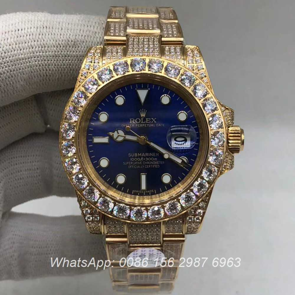 R120M235, SUB diamonds gold case blue face AAA 2813 automatic watch