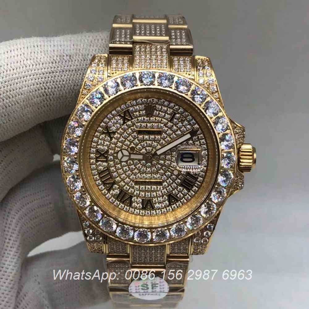 R120M234, SUB iced automatic 2813 AAA grade roma numbers diamonds face
