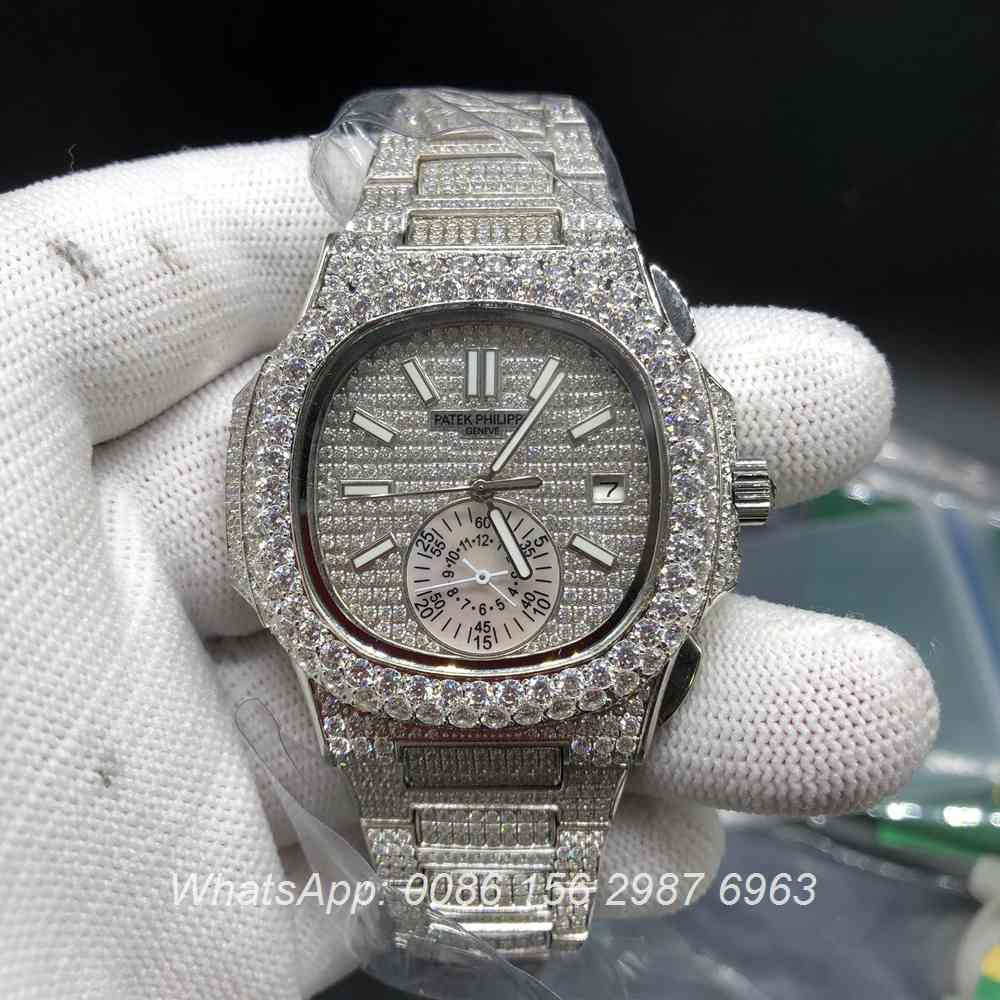 P240BL226, Patek 5980 iced silver automatic shiny diamonds watch