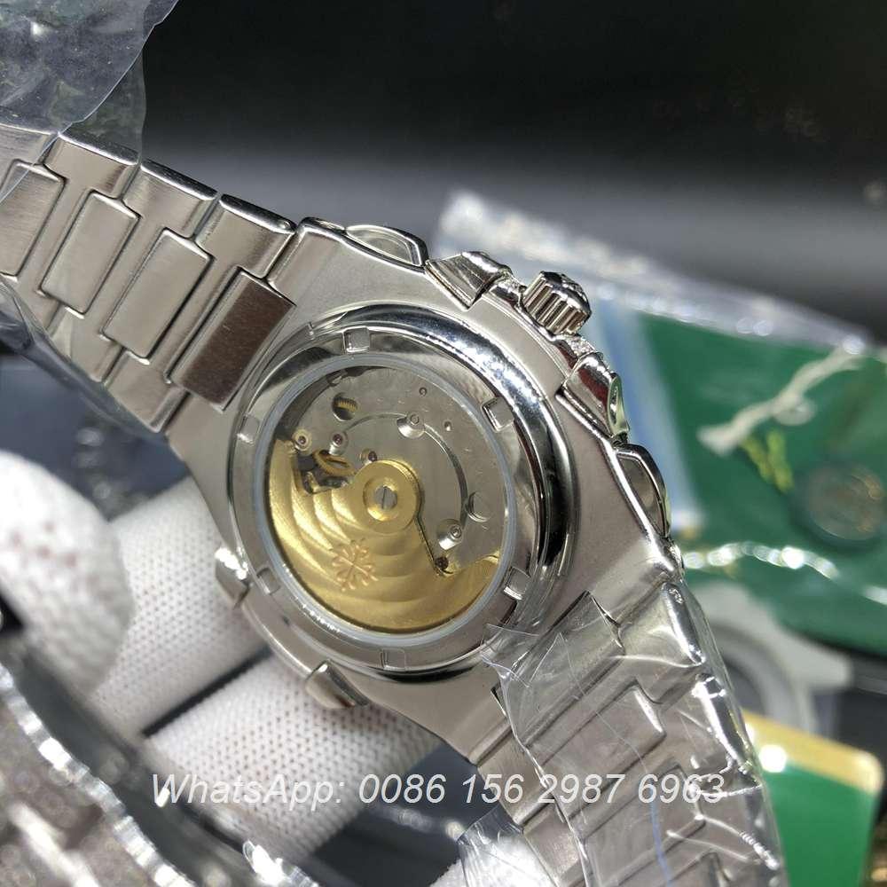 P240BL226, Patek 5980 iced silver automatic shiny diamonds watch