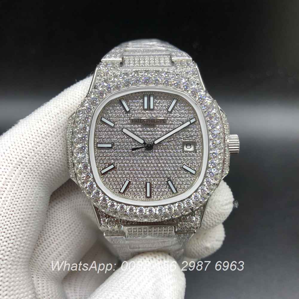 P190BL227, Patek 5711 iced silver shiny diamonds automatic glass back 2813