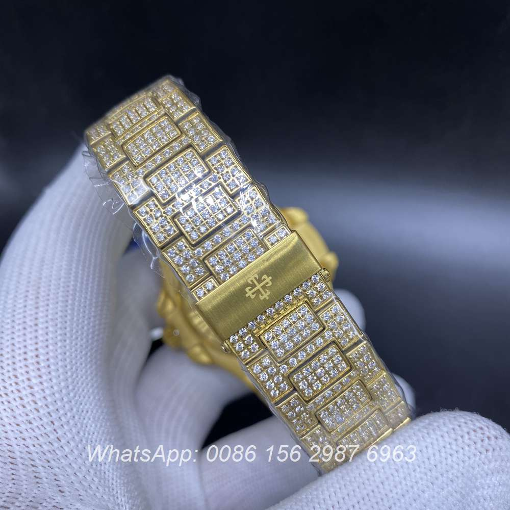 P190BL228, Patek iced yellow gold case automatic men's diamonds watch