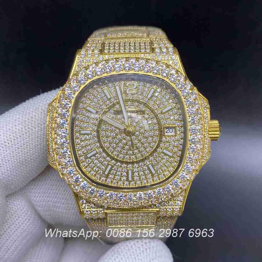 P190BL228, Patek iced yellow gold case automatic men's diamonds watch