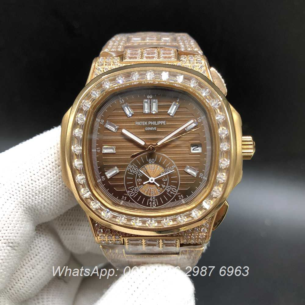 P240BL229, Patek 5980 iced rose gold case brown face baguette diamonds