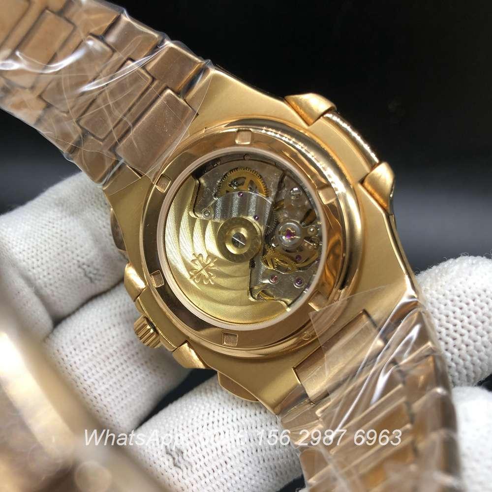P240BL229, Patek 5980 iced rose gold case brown face baguette diamonds