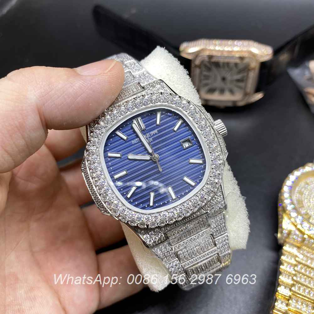 P190BL231, Patek 5711 iced silver case blue dial automatic 2813 AAA grade