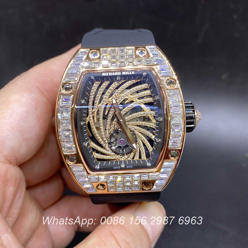 R135XD242, RM51-02 baguette diamonds rose gold 38x45mm automatic