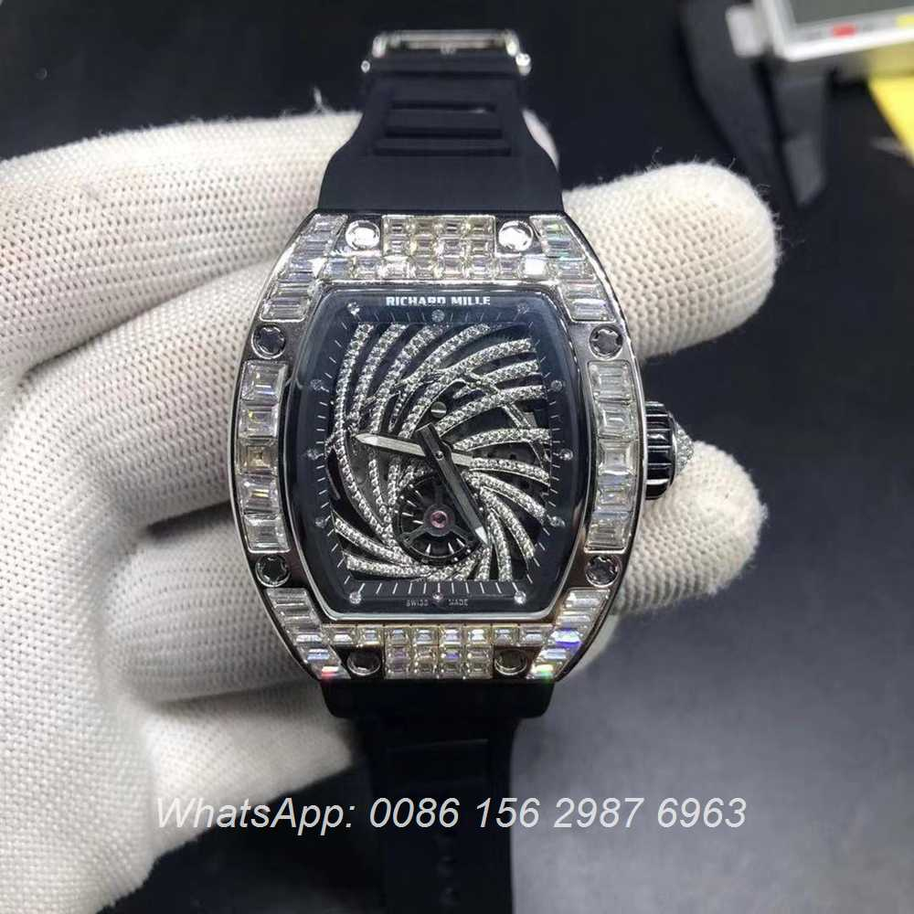 R130XD243, RM51-02 baguette diamonds silver case 38x45mm AAA grade automatic watch