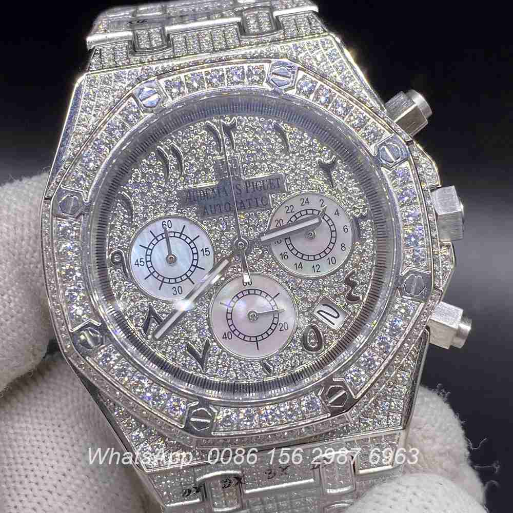 A120M225, AP arabic numbers quartz chronograph full works diamonds silver case