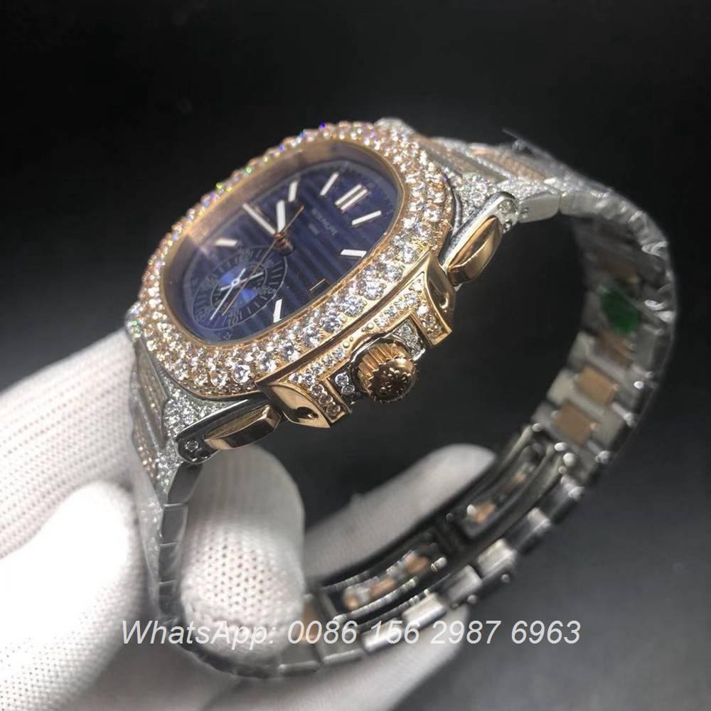 P230BL230, Patek rose gold 2tone diamonds case blue dial automatic watch