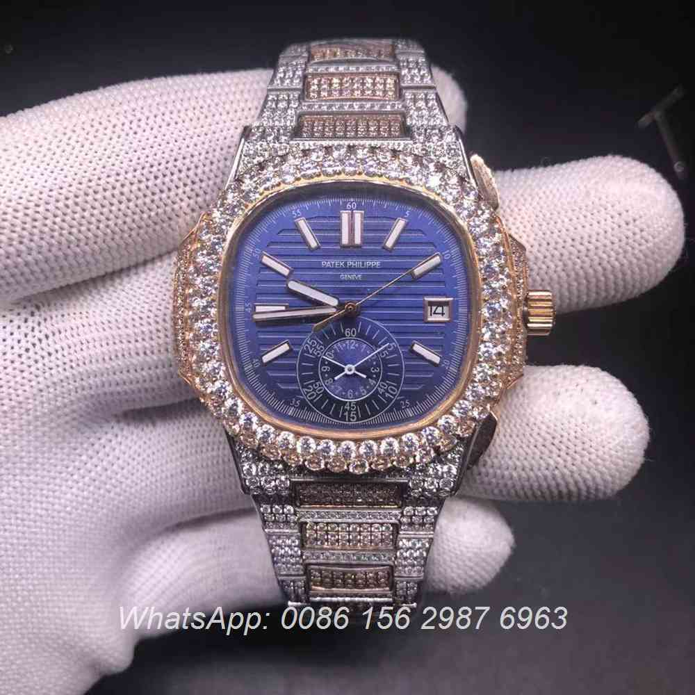 P230BL230, Patek rose gold 2tone diamonds case blue dial automatic watch