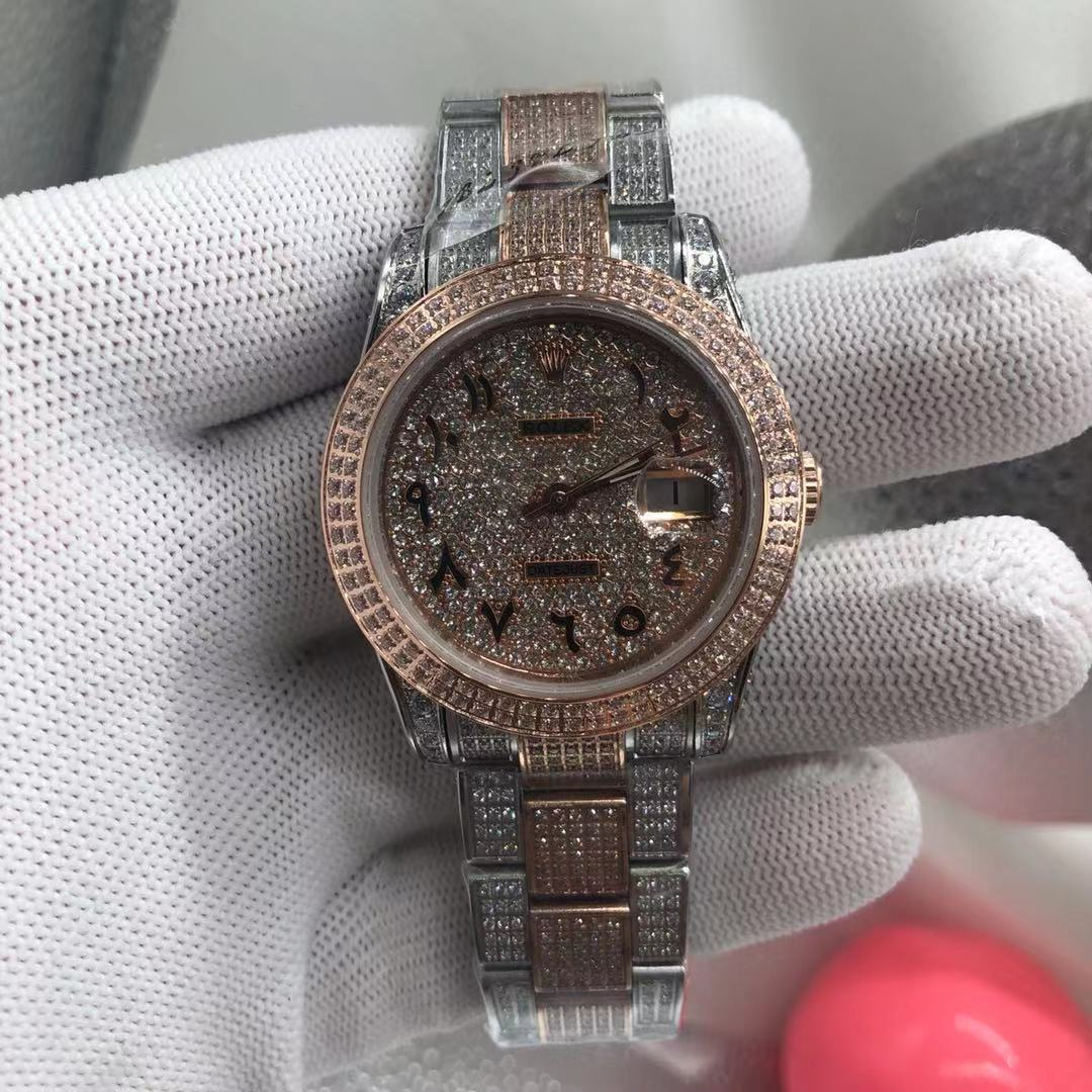 R108MH232, Datejust 37mm Arbaic numbers rose gold 2tone diamonds