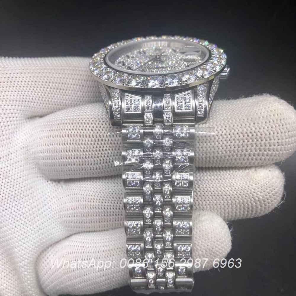 R098BL246, Datejust arabic numbers prongset diamonds bezel 43mm jubilee strap