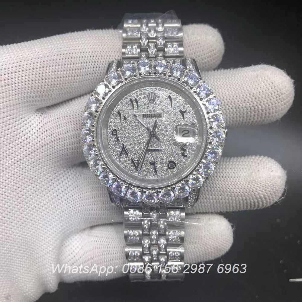 R098BL246, Datejust arabic numbers prongset diamonds bezel 43mm jubilee strap