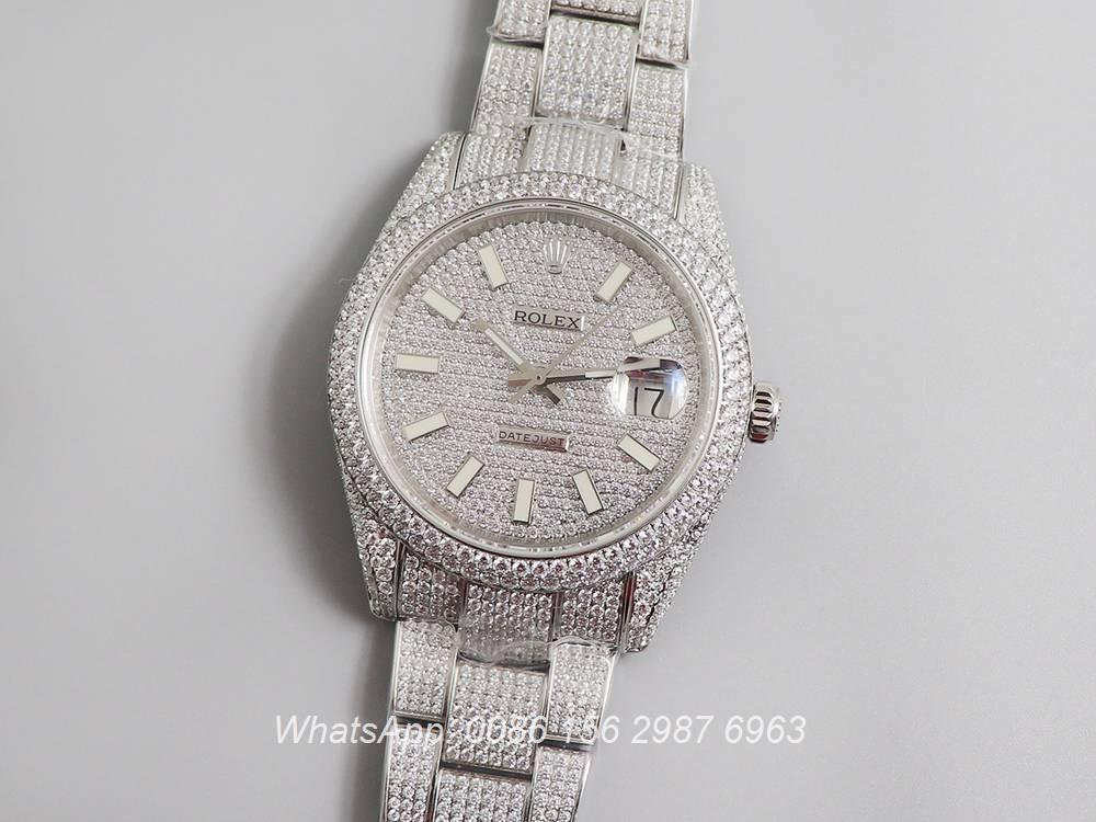 R270XD248, Datejust swarovski luxury diamonds silver case 40mm new model