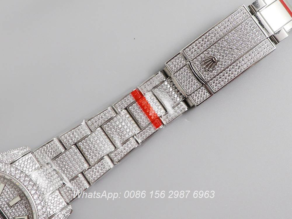 R270XD248, Datejust swarovski luxury diamonds silver case 40mm new model