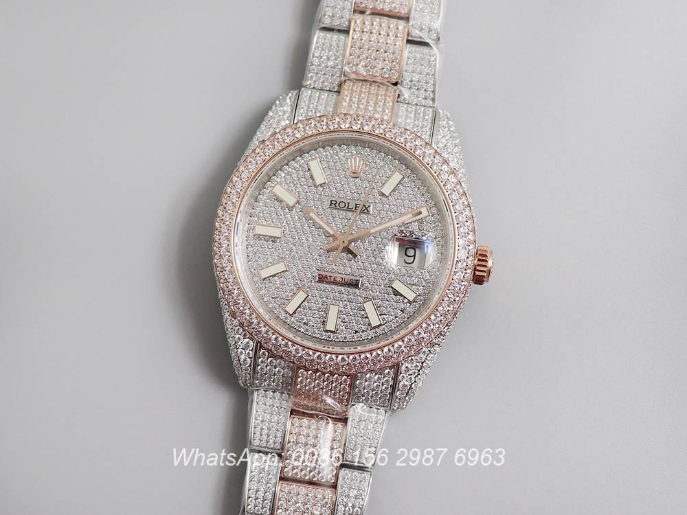 R270XD249, Datejust iced swarovski luxury diamonds rose gold 2tone case 40mm
