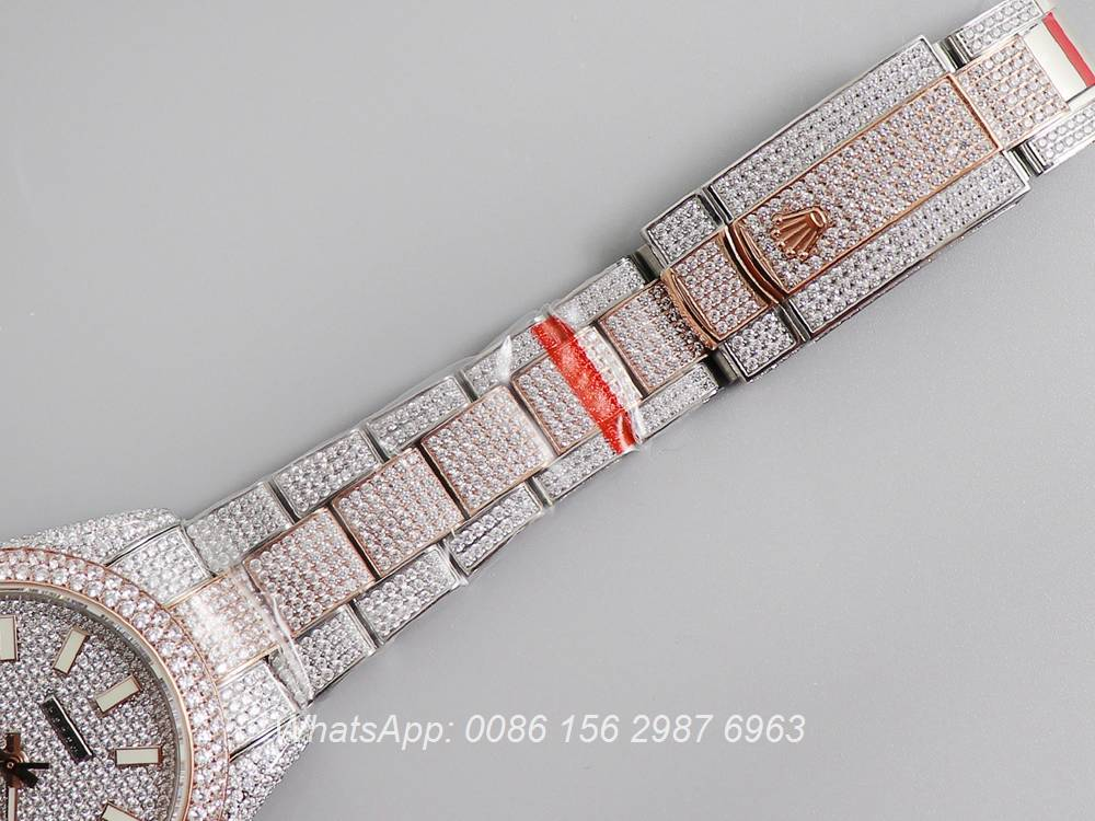 R270XD249, Datejust iced swarovski luxury diamonds rose gold 2tone case 40mm