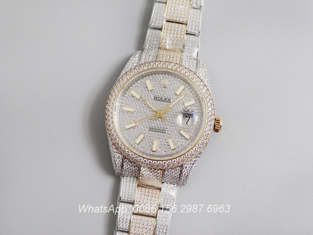 R270XD250, Datejust gold bi-color shiny iced swarovski luxury watch