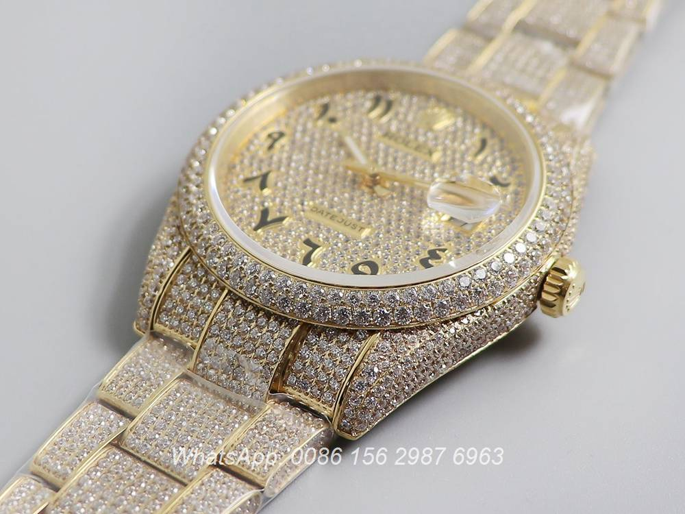 R270XD247, Datejust swarovski diamonds arabic numbers luxury gold watch