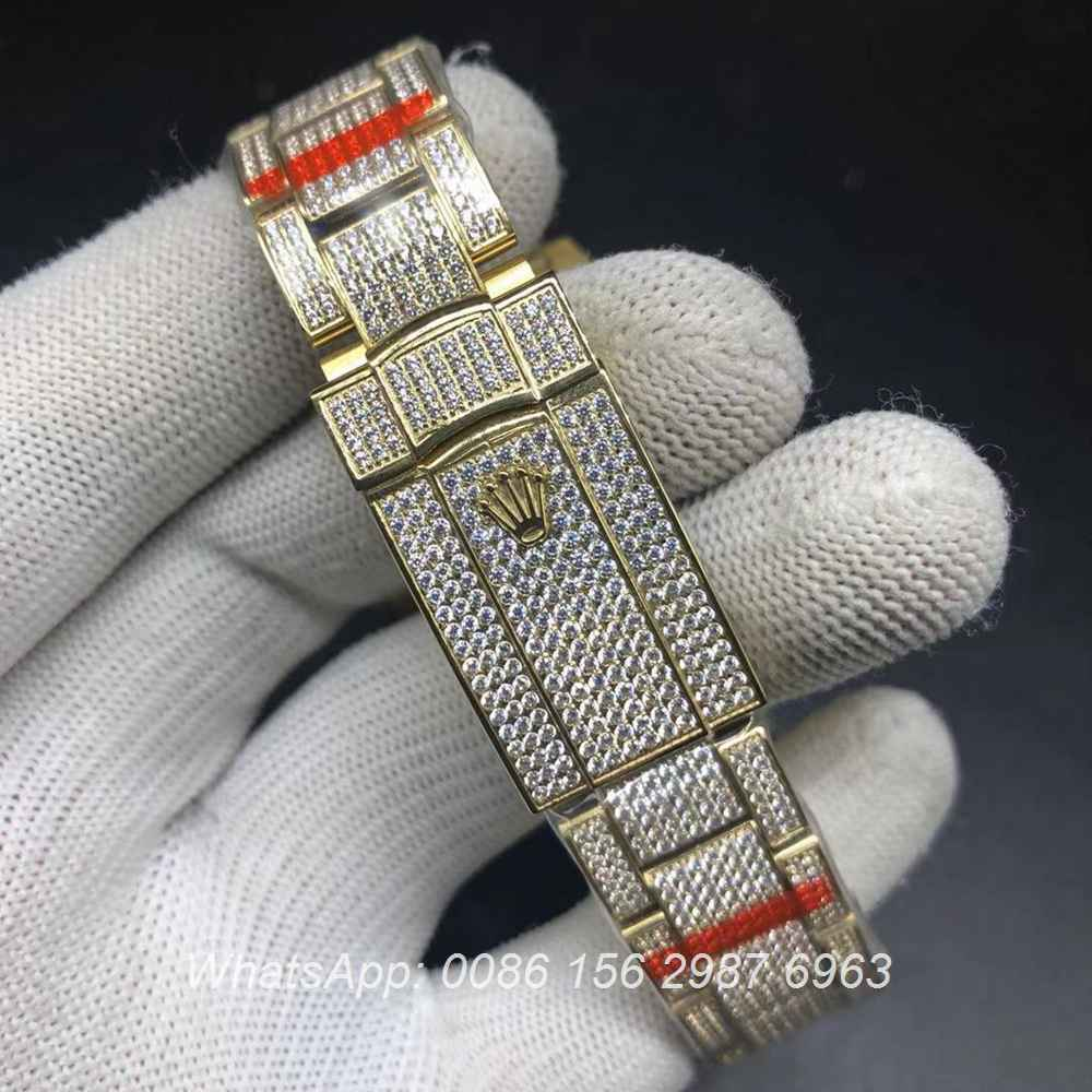 R270XD253, Datejust full iced gold case with arabic numbers more diamonds swarovski