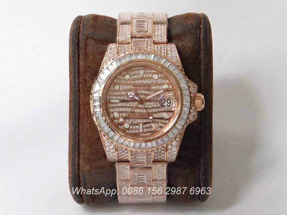 R305WT251, GMT iced rose gold luxury TW factory 2824 shiny diamonds
