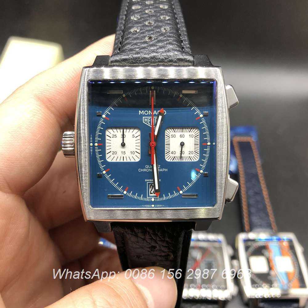 T028M255, TAG Monaco quartz silver case with blue chrono dial 40mm