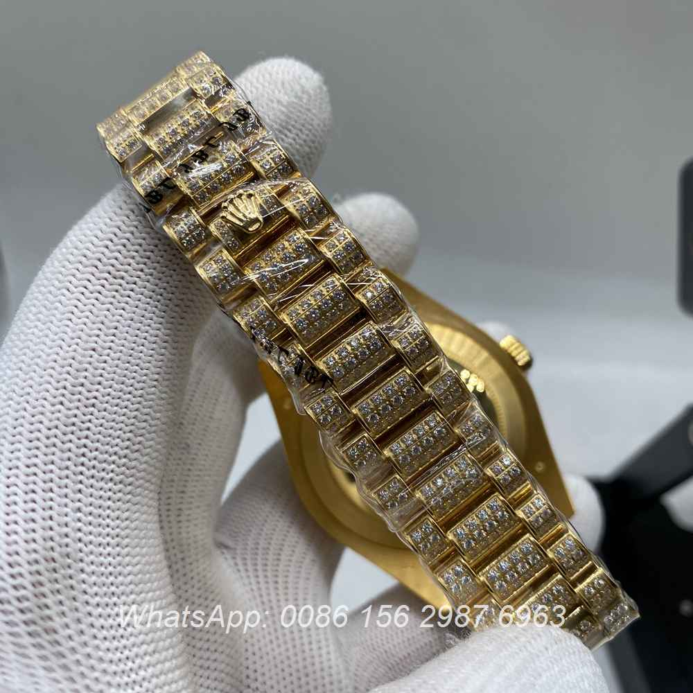 R200M267, DayDate diamonds gold shiny men's watch Asian 2836 movement