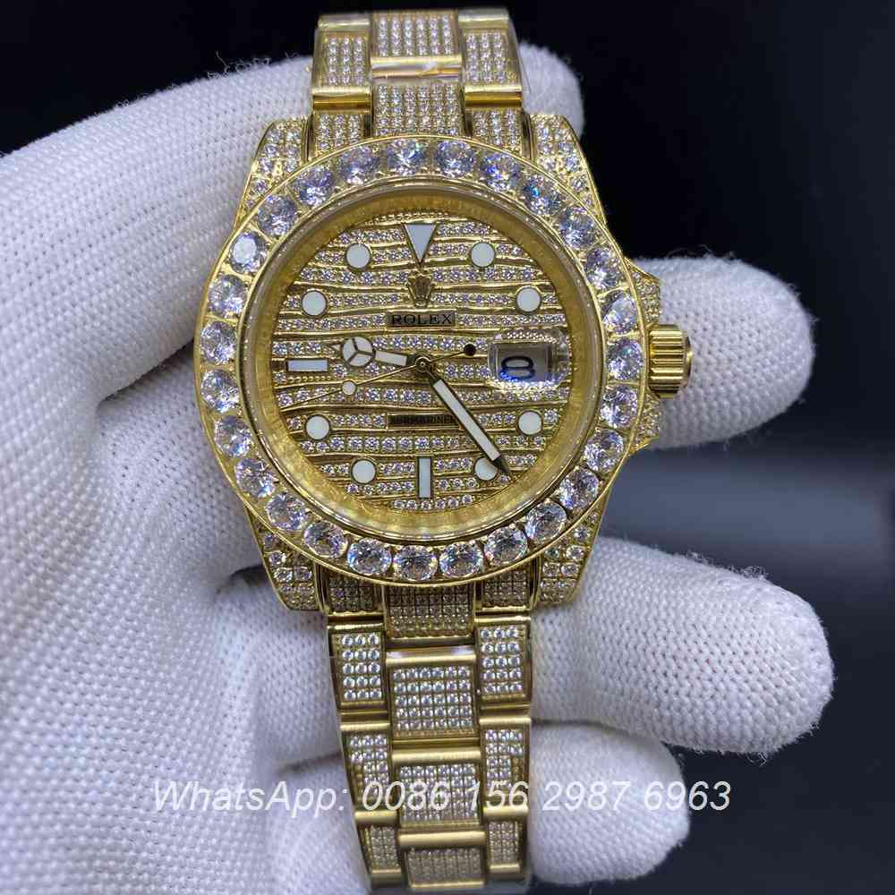 R120M268, SUB diamonds gold AAA 2813 automatic waves dial oyster strap