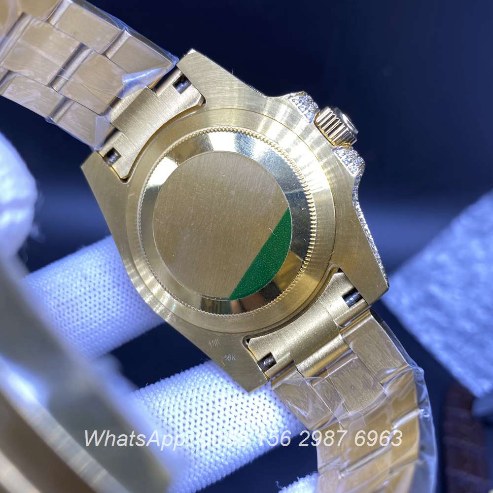 R100M269, SUB iced gold case with black dial shiny diamonds automatic men's watch