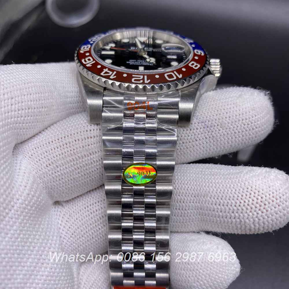 R305WT256, GMT Noob 904 steel 3285 movement jubilee strap red/blue bezel