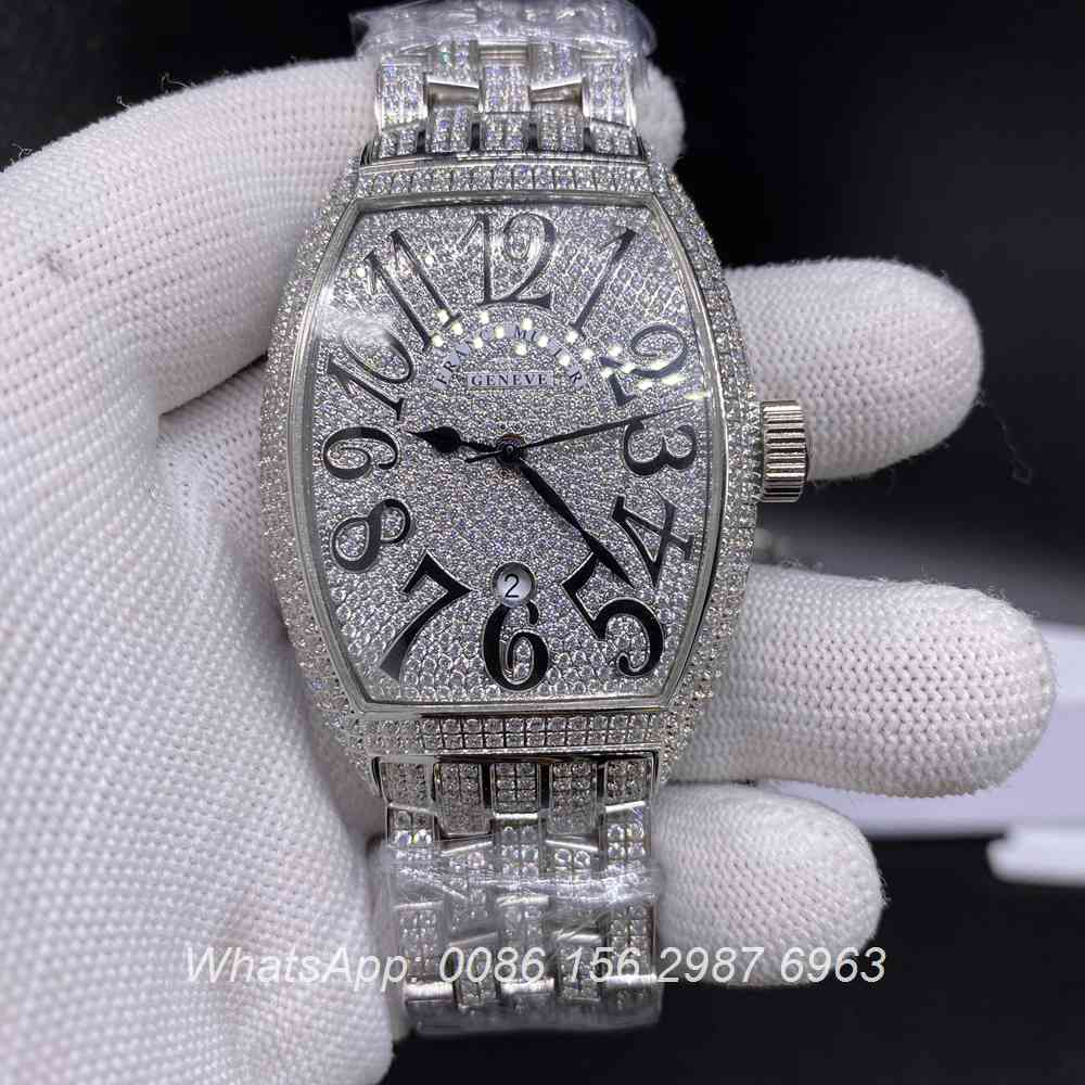 F190BL257, FM iced silver shiny diamonds automatic tonneau men's watch