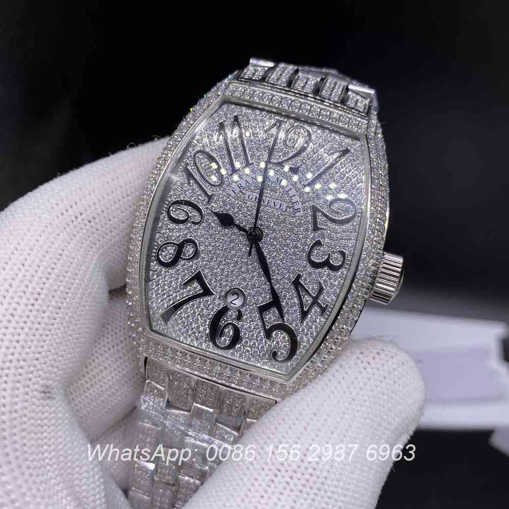F190BL257, FM iced silver shiny diamonds automatic tonneau men's watch